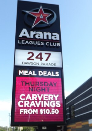 Electronic Digital LED Sign Arana Leagues Club