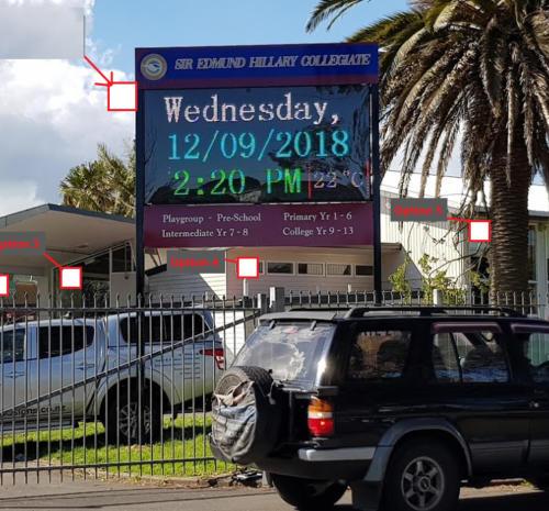 Electronic Digital LED Sign at Sir Edmund Hillary