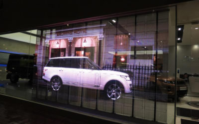 Transparent LED Window Sign Landrover