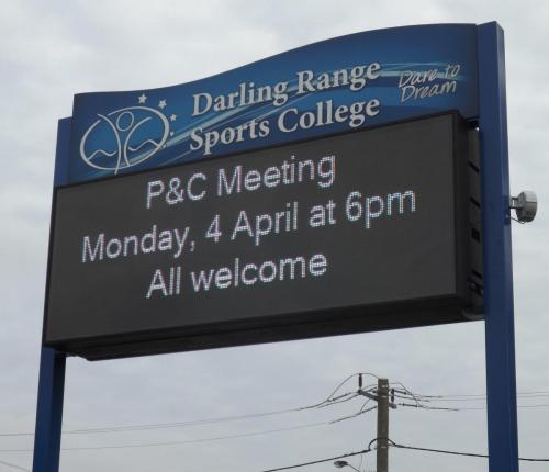 Electronic Digital LED Sign Darling Range Sports College