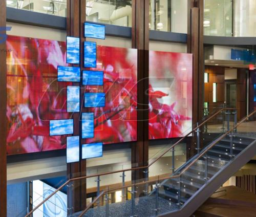 Electronic Digital LED Transparent Window Display Corporate HQ