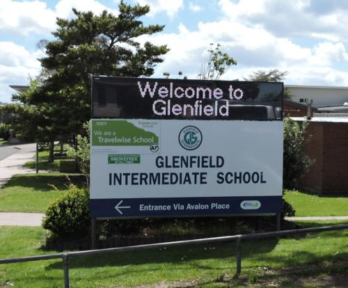 Electronic Digital LED Sign at Glenfield Intermediate School