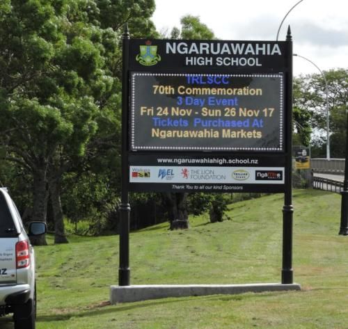 Electronic Digital LED Sign at Ngaruawahia High School